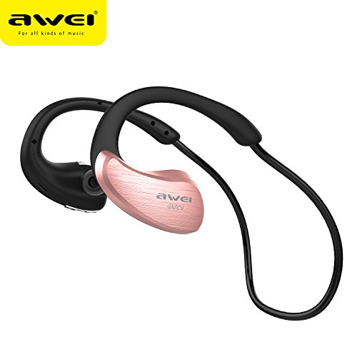 AWEI A885BL Bluetooth Headphones Sport Wireless Earphones Bluetooth Headset With Microphone Auriculares Ecouteur (Rose Gold
