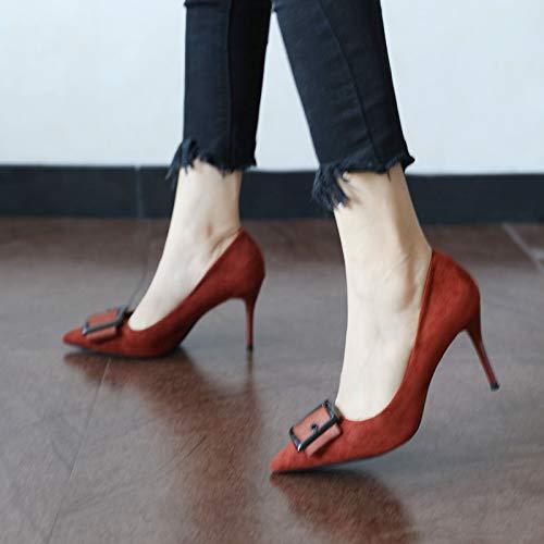 Talon Sable Mince Haricots Couleur Talons quatre Femmes Trente Hauts Chaussures Pointu 9cm suede Kphy Printemps Chaussures xp7CqwEO