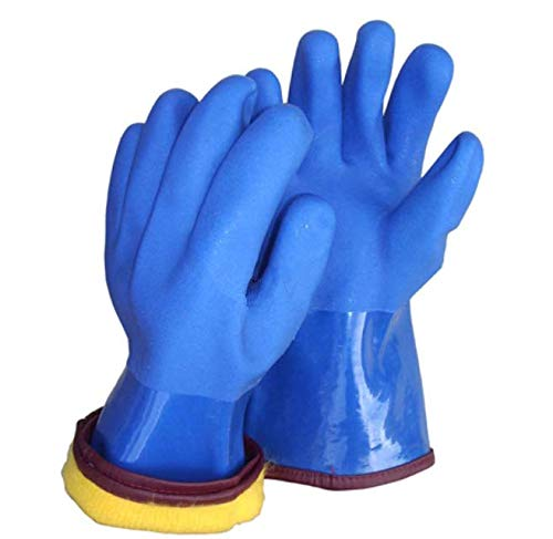 """12"""" Insulated & Waterproof PVC Coated Glove with Warm acrylic thermal liner, Heavy Duty Latex Gloves, Resist Strong Acid, Alkali and Oil,Fishing Operation glove-1 pair by PinkSally (Image #1)"""