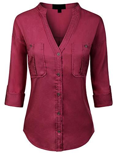 MixMatchy Women's Long Sleeve Solid Split Neck Tencel Button Down Shirt Blouse