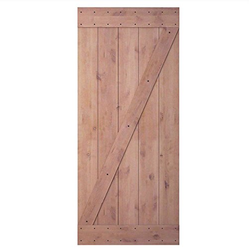 JUBEST 36in 84in Natural Knotty Alder Interior Sliding Barn Wood Door Slab(Disassembled&Pre-slotted), - Core Hollow Wood Doors