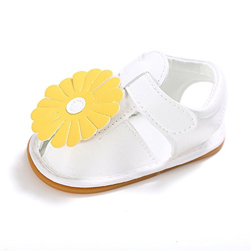 zapatos de Niña de piel sintética con lazo, zapatos Mary Jane, color Blanco, talla 6 - 12 meses flor amarilla