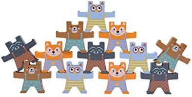 NUOBESTY 木製スタッキングゲームクマ形状バランスブロック学習おもちゃジオメトリビルディングブロック教育玩具子供の赤ちゃん幼児