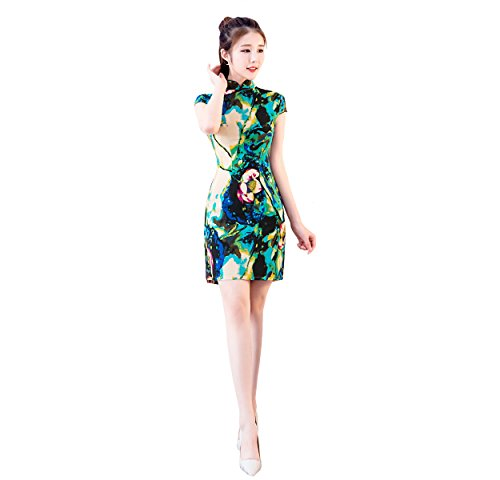 YueLian Women's Slit Stand Collar Cheongsam Short Dress Summer Lotus Qipao (4) ()