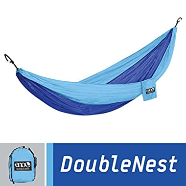 ENO Eagles Nest Outfitters - DoubleNest Hammock, Portable Hammock for Two, Powder Blue/Royal (FFP)