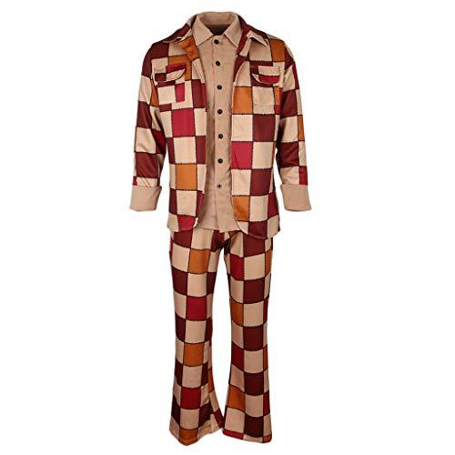 Prettyia Men's Retro 60s 70s Plaid Disco Costume Fancy Party Sleazeball Leisure Suit - as described, M