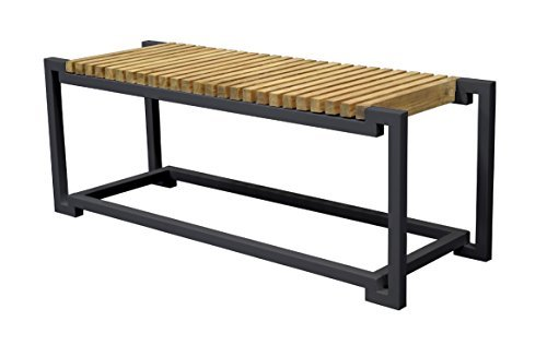 Asta Furniture M203/Blk Asta Teak and Iron Backless Bench - Bombay (Black)