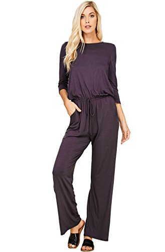 Sexy Clothing Catalogs - Annabelle Women's Plus Size 3/4 Sleeve Boat Neck Wide Legs Romper Jumpsuits with Pockets Slate XX-Large J8057P