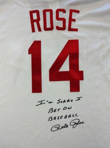 - Pete Rose Autographed Cincinatti Reds White Majestic Jersey