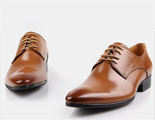 Hombres Formal Cuero Zapatos Con cordones Boda Negocio Trabajo Vestir marrón Negro Punta puntiaguda Oxfords Primavera Plano tamaño 37-44 Brown