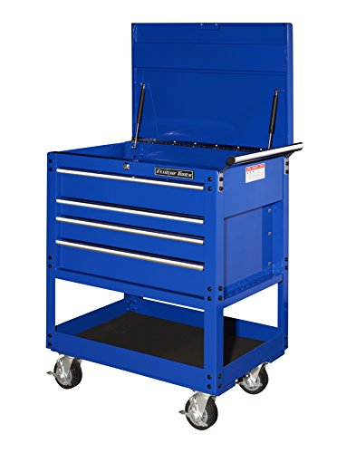 Extreme Tools EX3204TCBL EX Standard Series 32-inch 4-Drawer Deluxe Tool Cart with Pry Bar Holders, Blue