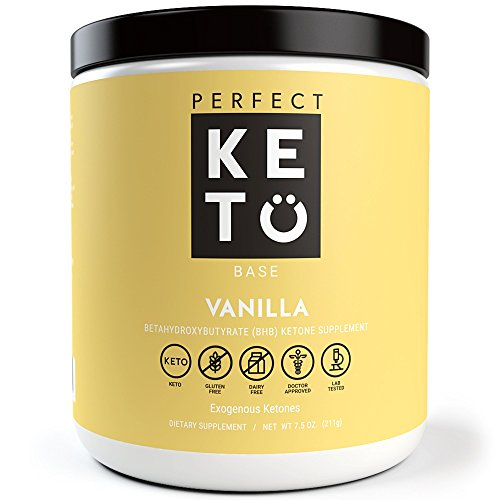 Perfect Keto Base Exogenous Ketone Supplement - Beta-Hydroxybutyrate (BHB) Salts Developed to Burn Fat, Increase Energy and Kickstart Ketosis.(211g) (Vanilla)