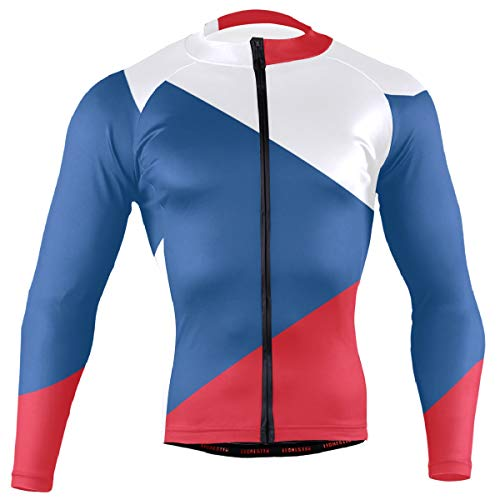 Czech Republic Flag Men's Cycling Jersey Long Sleeve Bike Jacket Biking Bicycle Jersey Shirt
