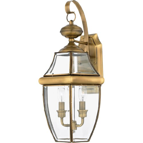 "Quoizel NY8317A Newbury Outdoor Wall Lantern Wall Mount Lighting, 2-Light, 120 Watts, Antique Brass (20""H x 11""W)"