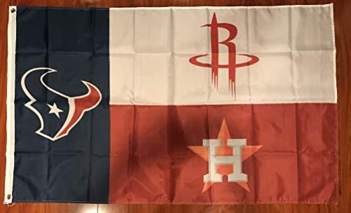 Houston 3 Teams Rockets Texans Banner Flag 3X5 FT Texas