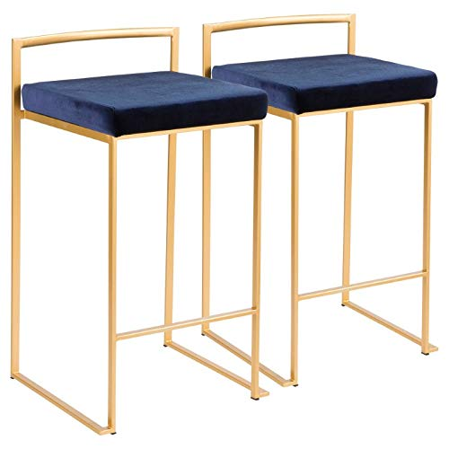 - LumiSource Stackable Counter Stool in Gold and Blue - Set of 2