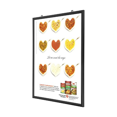 Black Double-Sided Poster Frame 24x36 Inches, 1.25' SnapeZo Profile, Front-Loading Display, Quick Poster Change, Professional Series