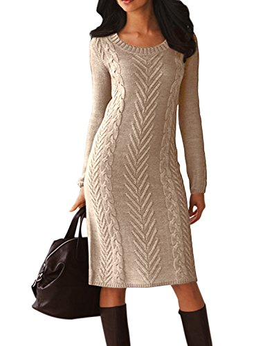 Women's Casual Long Sleeve Crew Neck Loose Cable Knit Pullover Sweater Bodycon Pencil Midi Dress Knee Length Solid Khaki L 12 (Sweater Dresses Boots)
