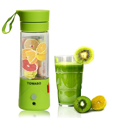 TOWABO USB Juicer Cup, Fruit Mixing Machine, Portable Personal Size Eletric Rechargeable Mixer, Blender, Water Bottle 380ml with USB Charger Cable Portable Juice Blender and Mixer (Juice Mixer)