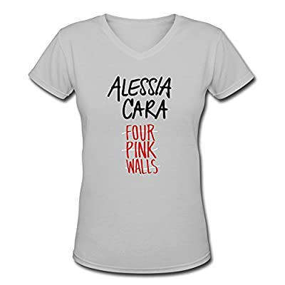 FHY Women's Alessia Cara Four Pink Walls V-Neck T-shirtS