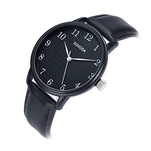 Black Watches for Men Stylish Elegant Quartz Analog Easy Reader Watch with White Number Time Markers and Black Dial Leather Strap for Everyday Wear by DOVODA (Image #2)