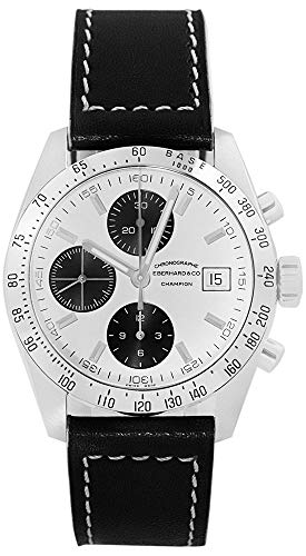 Eberhard & Co. Champion Chronograph Automatic Date Stainless Steel 31044.11 Mens Watch with Black Leather Band (Eberhard Watch)
