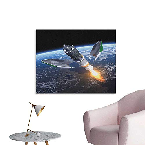 Anzhutwelve Outer Space Wallpaper Launch of Cargo Spacecraft in Progress Rocket Takes Off Cosmos Universe Poster Print Black Grey Blue W32 xL24