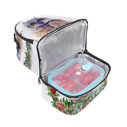 Top Carpenter Lunch Box Adult Lunch Bag Insulated Food Storage Containers Christmas Owl Fir Twigs Double Deck For Kids