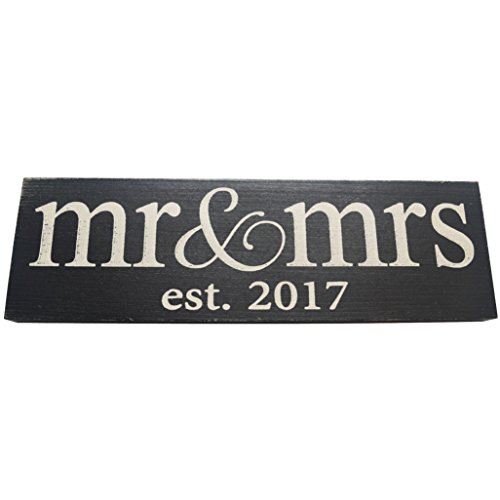 Local Artist Mr and Mrs Est 2017 Wooden Sign for Wedding Perfect Wall Decor for Master Bedroom
