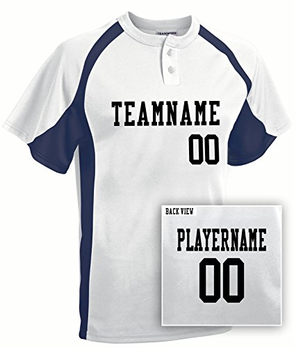Youth Custom Baseball 2-Button Jersey, Personalize with YOUR Names & Numbers-S