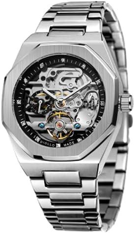 Diollo Fashion Automatic Movement Skeleton Men's Wristwatch Stainless Steel Men Watch Silver