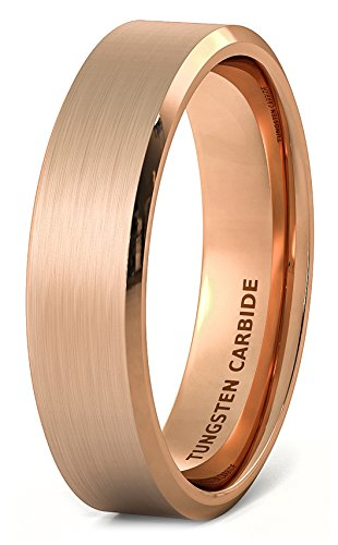 Duke Collections 6mm Rose Gold Brushed Tungsten Ring Beveled Edge Comfort Fit (10.5) - Brushed Rose