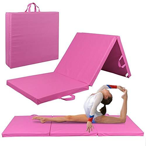 GJH One Gymnastics Mat Yoga Fitness High-Density EPE Foam Thick Soft Tri-Fold Panel Pink