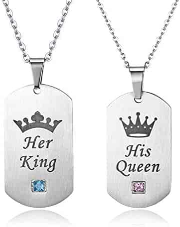77d3bb066 Cupimatch 2 Pcs CZ His Queen Her King Crown Dog Tag Pendant Necklace,  Titanium Stainless