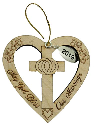 Twisted Anchor Trading Co God Bless This Marriage Ornament 2019 – Heart Shaped Anniversary Ornament, Our First Christmas Ornament - Wedding Ornament - Comes in a Gift Box so it's ()