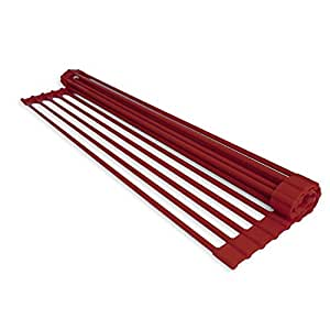 domestic corner dish rack over the sink roll up drying rack dark red kitchen. Black Bedroom Furniture Sets. Home Design Ideas