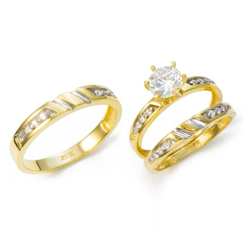 (14K Yellow Gold His and Hers Cubic Zirconia (CZ) Engagement Wedding Trio Ring Set (1.22 cttw))