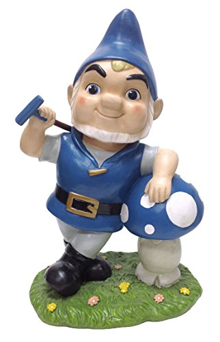 DIG Gnomeo with Mushroom Garden Statue, 12.3 by 7.75-Inch