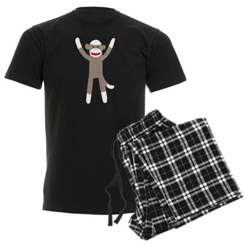 CafePress - Excited Sock Monkey Men's Dark Pajamas