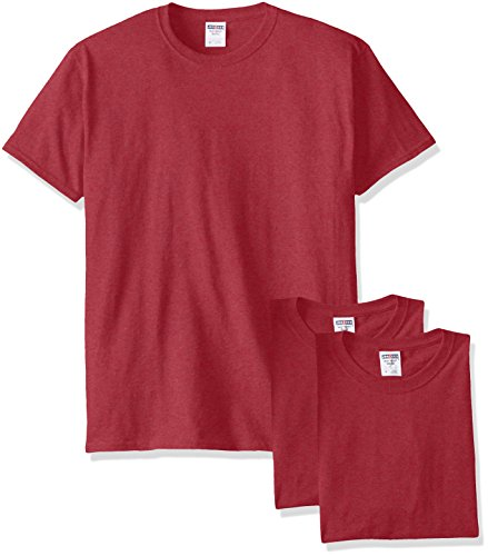 Jerzees Men's Black Heather Adult Short Sleeve Tee 3 Pack, Vintage Red, X-Large