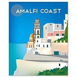 Positano, Amalfi Coast, Italy - Retro Travel Wall Art - Choose from Wrapped Canvas or Giclee Poster Prints