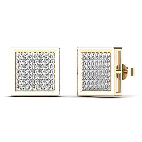 JewelAngel Women's 10K Yellow Gold 1/3ct TDW Diamond Square Stud Earrings (H-I, I1-I2)
