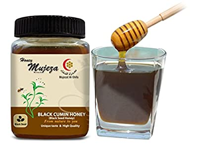 Black Seed Honey (Black Cumin - Habbat Albaraka - Nigella sativa), Unheated Unfiltered Unprocessed 100% Natural Raw Honey comes in a Glass Jar