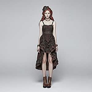 Black Dresses for Women, Steampunk Pleated Long Black Dresses for Women, Sleeveless Halter Black Dress for Women for Christmas Prom (Color : Coffee WQ 390, Size : M)