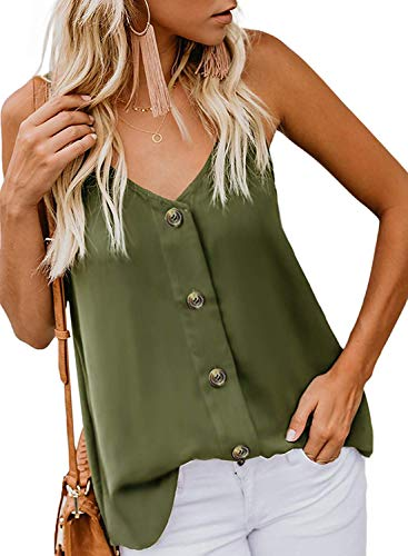 Fronage Womens Button Down V Neck Tank Tops Loose Strappy Cami Casual Sleeveless Shirts Blouse ((US4-6) Small, Green) ()