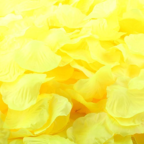 Pack of 4000 Rose Petals Artificial Flower Wedding Table Scaters Confetti Favor Bridal Party Decoration (Yellow)