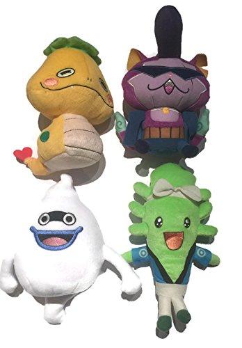 Yo-Kai Watch Set of 4 Plush Figures: Noko, Baddinyan, Whisper & Wiglin