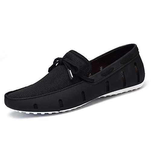 De Mocasines Nadan Transpirables Cómodos White Malla Sneerrt Hombres Encaje Zapatos Playa Conducción Black qEgnp5xna