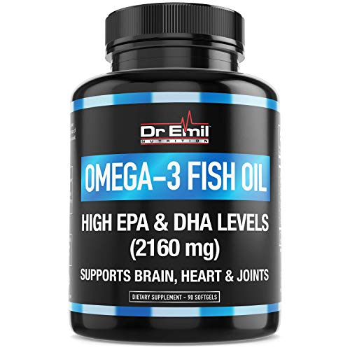 (Dr. Emil - Omega 3 Fish Oil (3600mg) - Highest EPA & DHA Levels (2160 mgs) - Burpless with Natural Lemon Flavor - Heart, Brain & Joint Support (90 Softgels))
