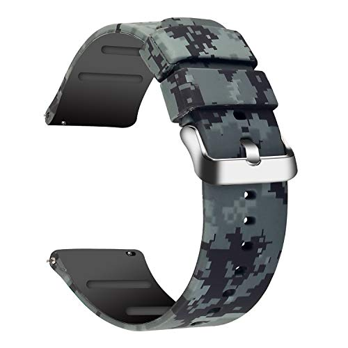 (JIELIELE Compatible 22mm Wristbands, Silicone Watch Band Straps Accessory for Samsung Gear S3 Frontier/Classic/Gear 2 / Galaxy Watch 46mm / Fossil Q Wander/Huawei Watch GT (Camo, 22mm))